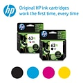 HP 63XL Black and Color Ink Cartridge, High Yield (F6U64AN), 2-Pack