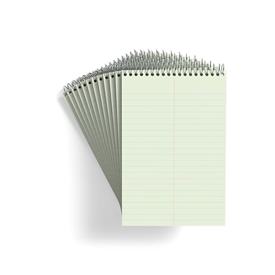 TRU RED™ Steno Pad, 6 x 9, Gregg Ruled, Green, 80 Sheets/Pad, Dozen Pads/Pack (TR57353)