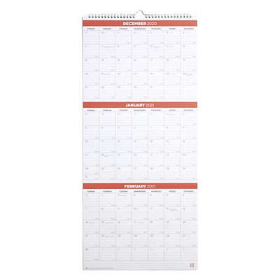 2021 TRU RED™ 27 x 12 Wall Calendar, Black/Red/White (TR53920-21)