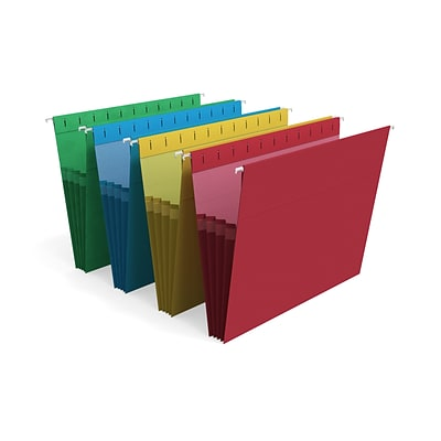 TRU RED™ Hanging File Folders, 3.5 Expansion, Letter Size, Assorted Colors, 4/Pack (TR419192)