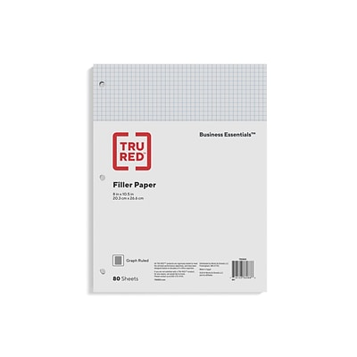 TRU RED™ Graph Ruled Filler Paper, 8 x 10.5, White, 80 Sheets/Pack (TR25634)