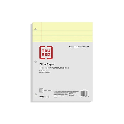 TRU RED™ Wide Ruled Filler Paper, 8 x 10.5, Assorted Colors, 100 Sheets/Pack (TR41637)