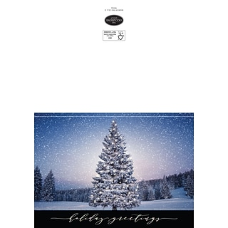 Custom Holiday Greetings Forsest Trees In Snow Cards, with Envelopes, 7-7/8 x 5-5/8, 25 Cards per