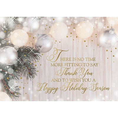 Custom Thank You Holiday Season Pearl Ornaments Cards, with Envelopes, 7-7/8 x 5-5/8, 25 Cards per Set
