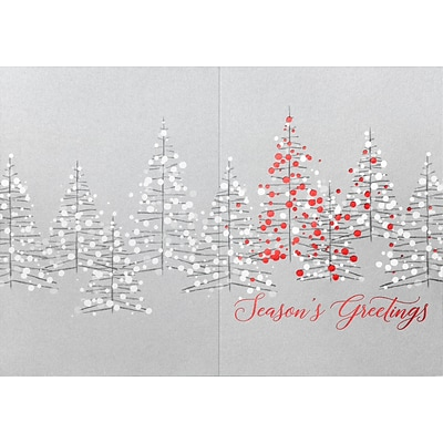 Custom Seasons Greetings Silver Christmas Trees Cards, with Envelopes, 5-5/8 x 7-7/8, 25 Cards per Set