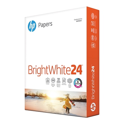 HP BrightWhite24 8.5 x 11 Color Copy Paper, 24 lbs., 100 Brightness, 500/Ream (HPB1124)
