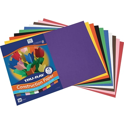 Tru-Ray 12 x 18 Construction Paper, Assorted Colors, 50 Sheets (P103063)