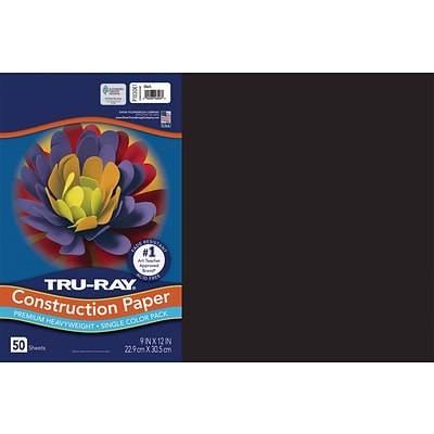 Tru-Ray 12 x 18 Construction Paper, Black, 50 Sheets (P103061)