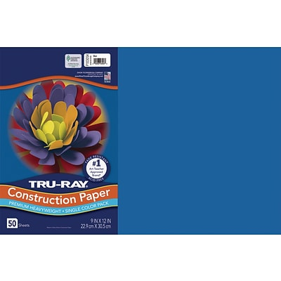 Tru-Ray 12 x 18 Construction Paper, Blue, 50 Sheets (P103054)
