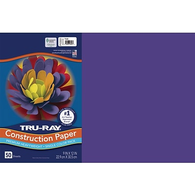 Tru-Ray 12 x 18 Construction Paper, Purple, 50 Sheets (P103051)