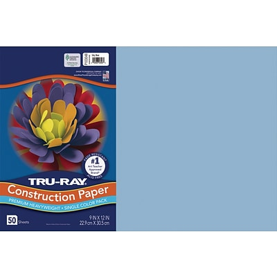 Tru-Ray 12 x 18 Construction Paper, Sky Blue, 50 Sheets (P103048)