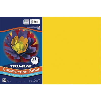 Tru-Ray 12 x 18 Construction Paper, Yellow, 50 Sheets (P103036)