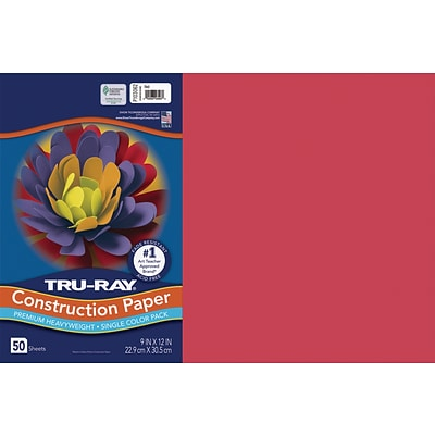 Tru-Ray 12 x 18 Construction Paper, Red, 50 Sheets (P103062)