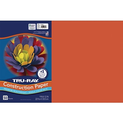 Tru-Ray 12 x 18 Construction Paper, Orange, 50 Sheets (P103034)