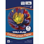 Tru-Ray 9 x 12 Construction Paper, White, 50 Sheets (P103026)