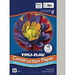 Tru-Ray 9 x 12 Construction Paper, Gray, 50 Sheets (P103027)