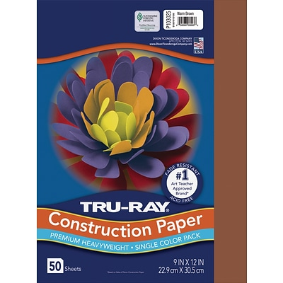 Tru-Ray 9 x 12 Construction Paper, Warm Brown, 50 Sheets (P103025)