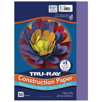 Tru-Ray 9 x 12 Construction Paper, Violet, 50 Sheets (P103009)