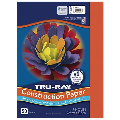 Tru-Ray 9 x 12 Construction Paper, Orange, 50 Sheets (P103002)