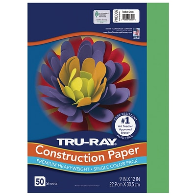 Tru-Ray 9 x 12 Construction Paper, Festive Green, 50 Sheets (P103006)