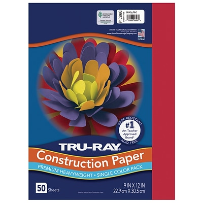 Tru-Ray 9 x 12 Construction Paper, Holiday Red, 50 Sheets (P102993)