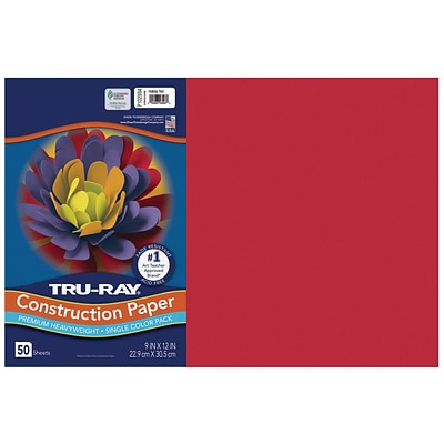 Tru-Ray 12 x 18 Construction Paper, Holiday Red, 50 Sheets (P102994)