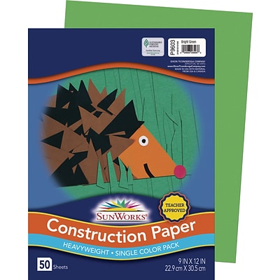 SunWorks 9 x 12 Construction Paper, Bright Green, 50 Sheets (P9603)