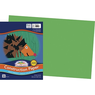 SunWorks 12 x 18 Construction Paper, Bright Green, 50 Sheets (P9607)