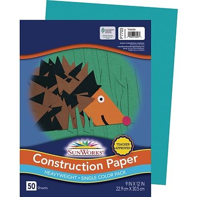 SunWorks 9 x 12 Construction Paper, Turquoise, 50 Sheets (P7703)