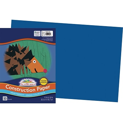 SunWorks 12 x 18 Construction Paper, Bright Blue, 50 Sheets (P7507)