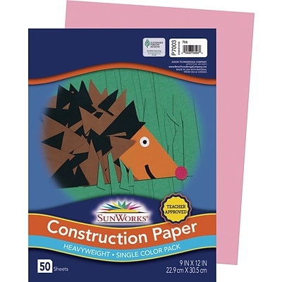SunWorks 9 x 12 Construction Paper, Pink, 50 Sheets (P7003)