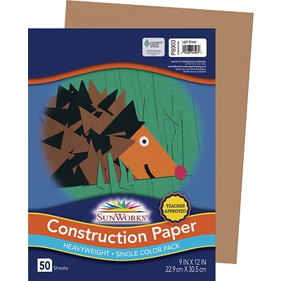 SunWorks 9 x 12 Construction Paper, Light Brown, 50 Sheets (P6903)