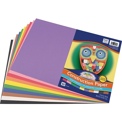 SunWorks 12 x 18 Construction Paper, Assorted Colors, 50 Sheets (P6507)