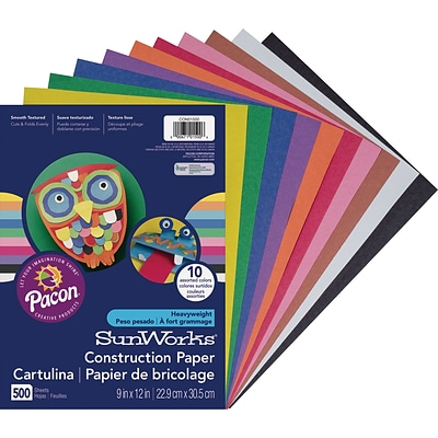 SunWorks 9 x 12 Construction Paper, Assorted Colors, 500 Sheets (PCON01500)