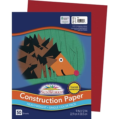 SunWorks 9 x 12 Construction Paper, Red, 50 Sheets (P6103)