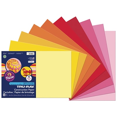 Tru-Ray 12 x 18 Construction Paper, Warm Assorted, 50 Sheets (P102948)