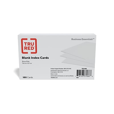 TRU RED™ 3 x 5 Index Cards, Blank, White, 100/Pack (TR51008)