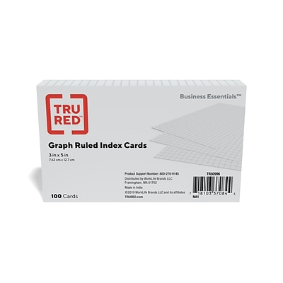 TRU RED™ 3 x 5 Index Cards, Graph Ruled, White, 100/Pack (TR50996)