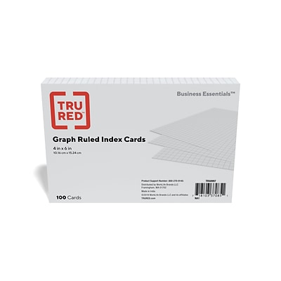 TRU RED™ 4 x 6 Index Card, Graph Ruled, White, 100/Pack (TR50997)