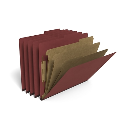 TRU RED™ Pressboard Classification Folder, 3-Dividers, 3.5 Expansion, Letter Size, Brick Red, 20/Box (TR614411)