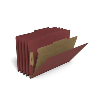 TRU RED™ Pressboard Classification Folder, 1-Divider, 1.75 Expansion, Legal Size, Brick Red, 20/Box (TR614436)