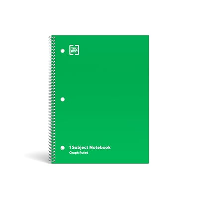 TRU RED™ 1-Subject Notebook, 8 x 10.5, Graph Ruled, 70 Sheets, Green (TR23987)