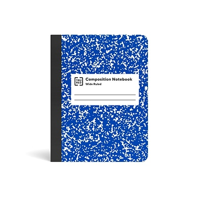 TRU RED™ Composition Notebook, 7.5 x 9.75, Wide Ruled, 80 Sheets, Blue/White (TR55073)