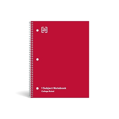 TRU RED™ 1-Subject Notebook, 8 x 10.5, College Ruled, 70 Sheets, Red (TR27503)
