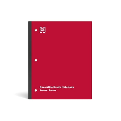 TRU RED™ Wireless 1-Subject Notebook, 8.5 x 11, Graph Ruled, 80 Sheets, Red (TR58383)