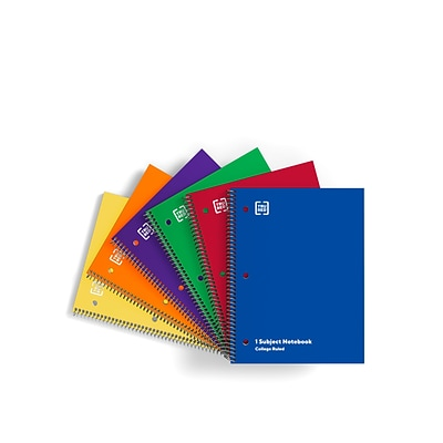 TRU RED™ 1-Subject Notebooks, 8.5 x 11, College Ruled, 70 Sheets, Assorted Colors, 6/Pack (TR58376)