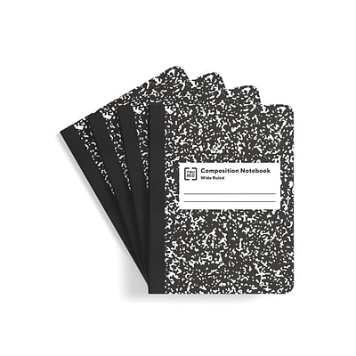 TRU RED™ Composition Notebook, 7.5 x 9.75, Wide Ruled, 100 Sheets, White/Black, 4/Pack (TR58369)
