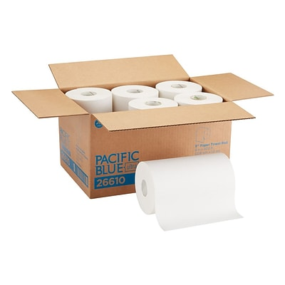Pacific Blue Hardwound Paper Towel, 1-Ply, White, 400/Roll, 6/Carton (26610)