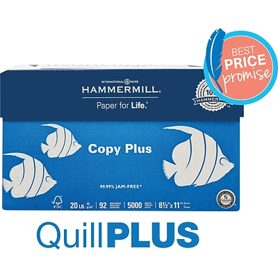 QuillPLUS Hammermill Copy Plus Paper, 8.5 x 11, 20 lbs., White, 500 Sheets/Ream, 10 Reams/Carton (