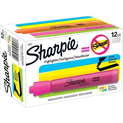 Sharpie Tank Highlighter, Chisel Tip, Assorted Colors, Dozen (25053)
